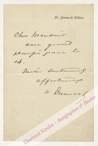 Dumas (fils), Alexandre, Schriftteller (1824-1895).