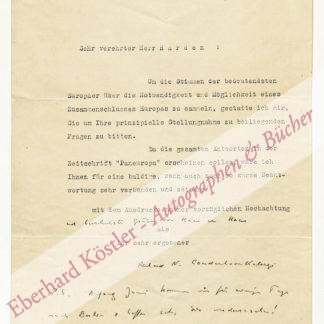 Coudenhove-Kalergi, Richard Nikolaus, Schriftsteller, Politiker und Gründer der Paneuropa-Bewegung (1894-1972).