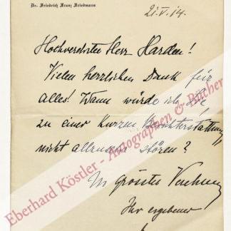 Friedmann, Friedrich Franz, Mediziner und Pionier der Tuberkuloseforschung (1876-1953).
