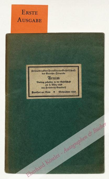 Gundolf, Friedrich, Literaturwissenschaftler (1880-1931).
