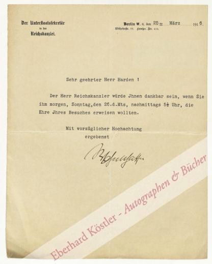 Wahnschaffe, Arnold, Chef der Reichskanzlei von 1909 bis 1917 (1865-1941).