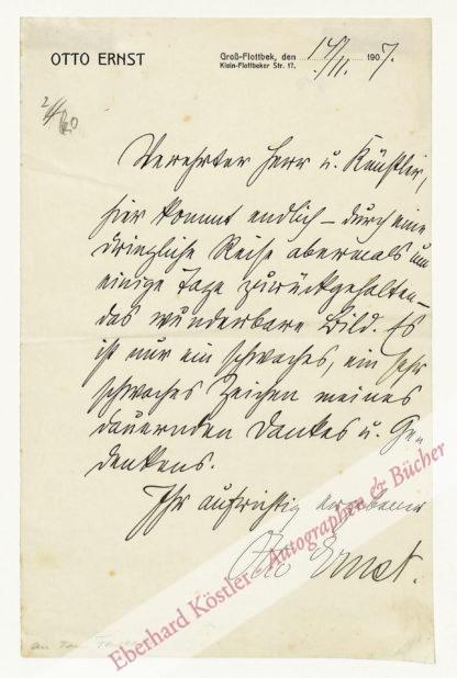 Ernst, Otto, Schriftsteller (1862-1926).