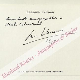 Simenon, Georges, Schriftsteller (1903-1989).