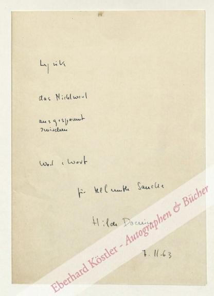 Domin, Hilde, Schriftstellerin (1909-2006).