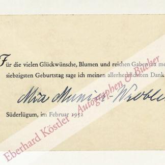 Munier-Wroblewski, Mia, Schriftstellerin (1882-1965).