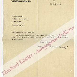 Beumelburg, Werner, Schriftsteller (1899-1963).