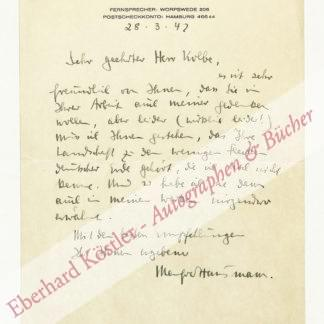 Hausmann, Manfred, Schriftsteller (1898-1986).