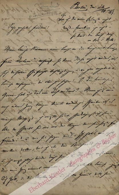 Lind -  Birch-Pfeiffer, Charlotte, Schauspielerin und Schriftstellerin (1800-1868).