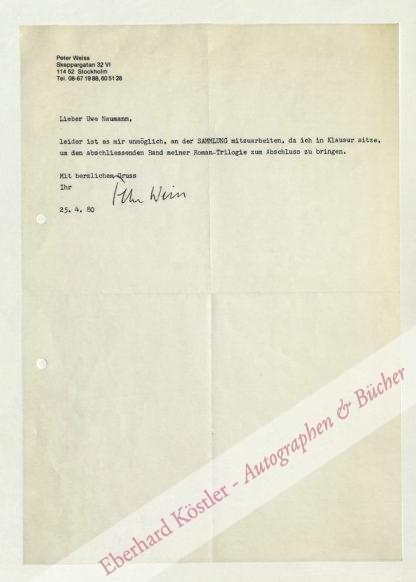 Weiss, Peter, Schriftsteller (1916-1982).