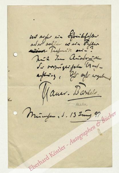 Bartels, Hans von, Maler (1856-1913).