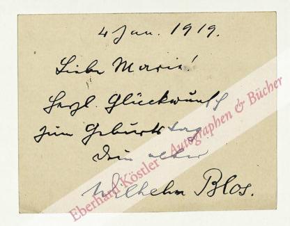 Blos, Wilhelm, Schriftsteller und Politiker (1849-1927).