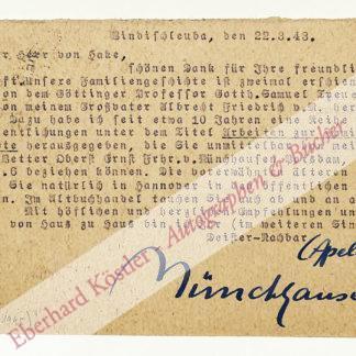 Münchhausen, Börries von, Schriftsteller (1874-1945).