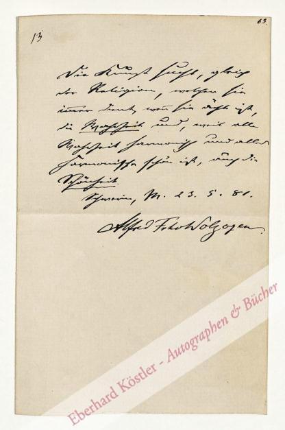 Wolzogen, Alfred von, Dramatiker und Biograph (1823-1883).