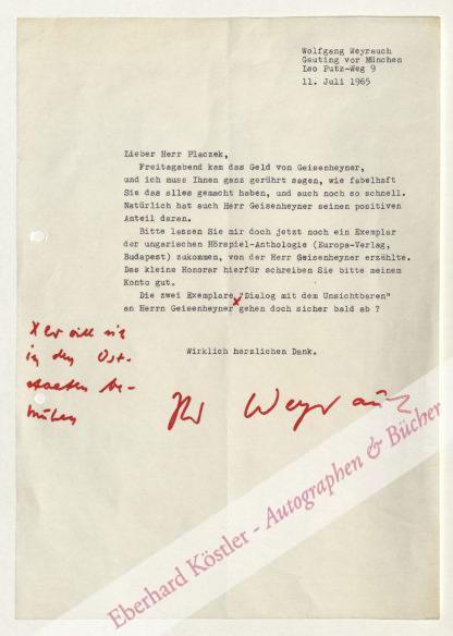 Weyrauch, Wolfgang, Schriftsteller (1904-1980).