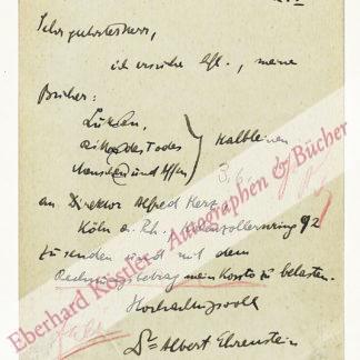 Ehrenstein, Albert, Schriftsteller (1886-1950).