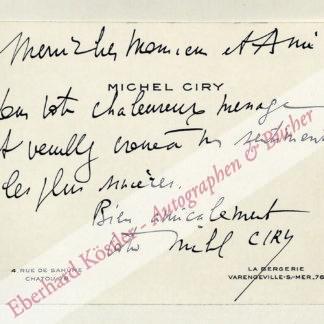 Ciry, Michel, Komponist, Schriftsteller und Graphiker (geb. 1919).