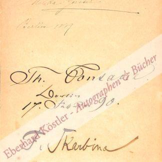 Fontane, Theodor, Schriftsteller (1819-1898).