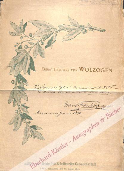 Wolzogen, Ernst Feiherr von, Schriftsteller (1855-1934).