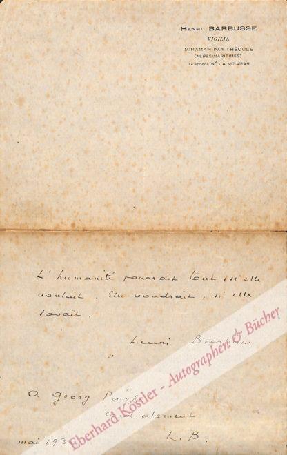 Barbusse, Henri, Schriftsteller und Politiker (1873-1935).