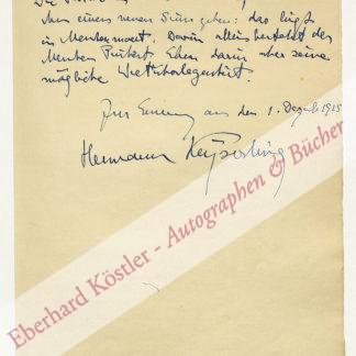 Keyserling, Hermann von, Philosoph (1880-1946).