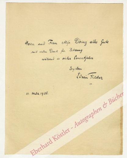 Fischer, Edwin, Pianist (1886-1960).