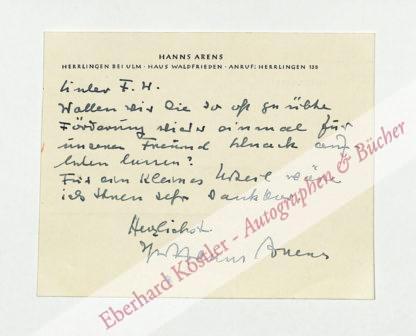 Arens, Hanns, Schriftsteller (1901-1983).