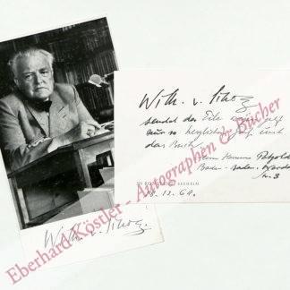 Scholz, Willhelm von, Schriftsteller (1874-1969).