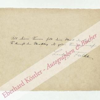 Fulda, Ludwig, Schriftsteller (1862-1939).