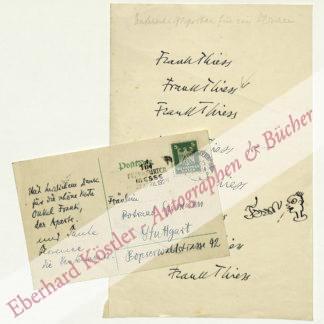 Thiess, Frank, Schriftsteller (1890-1977).