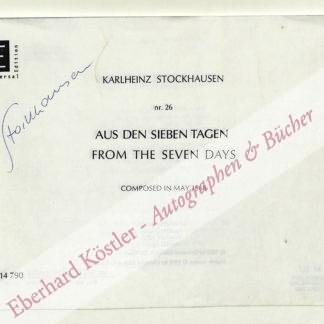 Stockhausen, Karl-Heinz, Komponist (1928-2007).