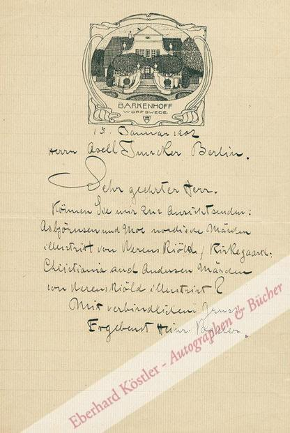 Vogeler, Heinrich, Maler und Graphiker (1872-1942).
