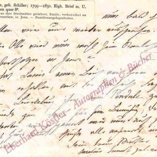 Schiller -  Junot, Caroline Luise Friederike (geb. Schiller), älteste Tochter und drittes Kind des Dichters Friedrich Schiller und seiner Ehefrau Charlotte (1799-1850).