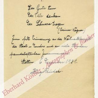 Wagner-Kreis -  Rüdel, Hugo, Chorleiter und Dirigent (1868-1934).