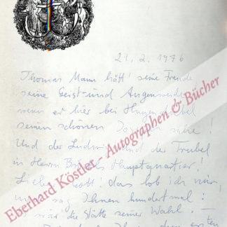Mann, Thomas -  Röhn, Gisela, Malerin und Grafikerin (1921-1993).