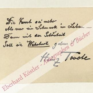 Tovote, Heinz, Schriftsteller (1864-1946).