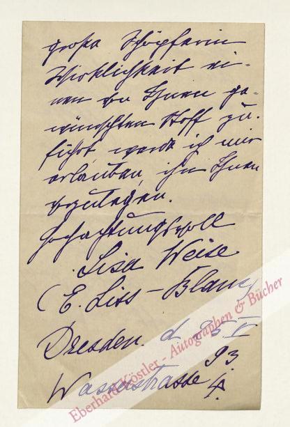 Weise, Lisa (Pseud. E. Liss-Blanc), Schriftstellerin (1864-?).