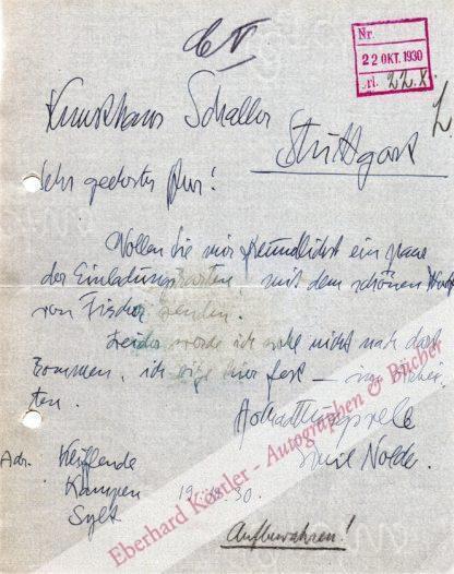 Nolde, Emil, Maler (1867-1956).