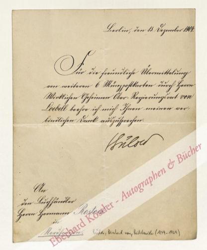 Bülow, Bernhard von, Reichskanzler des Deutschen Kaiserreichs (1849-1929).