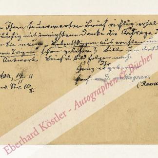 Wagner (Renatus), Johannes von, Schriftsteller (1833-1912).