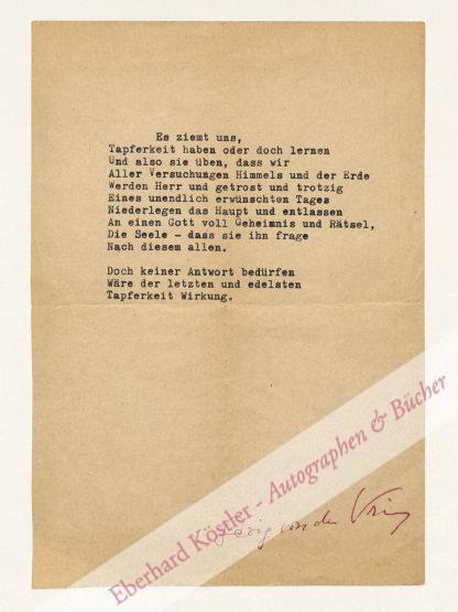 Vring, Georg von der, Schriftsteller (1889-1968).