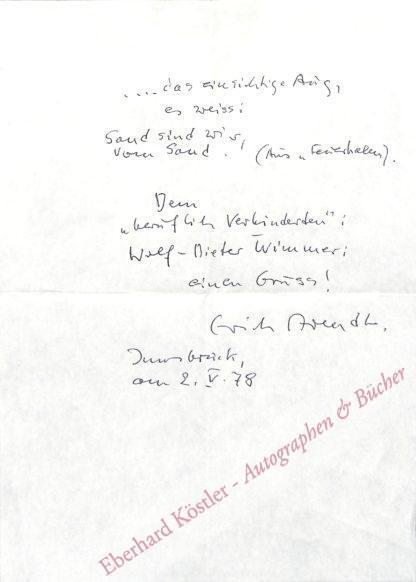 Arendt, Erich, Schriftsteller (1903-1984).