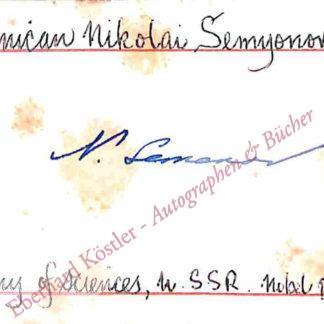 Semjonow [Semenov], Nikolai Nikolajewitsch, Chemiker und Nobelpreisträger (1896-1986).