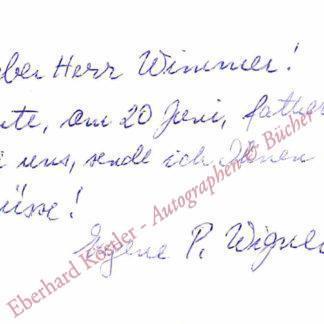Wigner, Eugene Paul, Physiker und Nobelpreisträger (1902-1995).