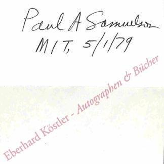 Samuelson, Paul A., Wirtschaftswissenschaftler und Nobelpreisträger (1915-2009).