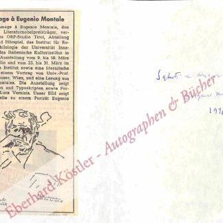 Montale, Eugenio, Schriftsteller und Nobelpreisträger (1886-1981).