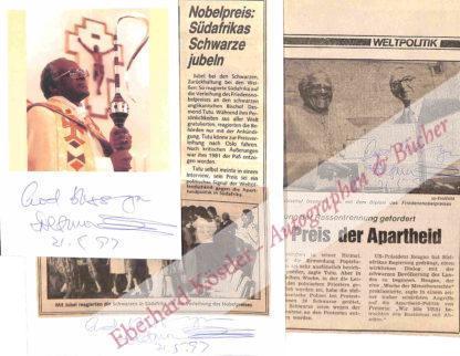Tutu, Desmond, Menschenrechtler und Nobelpreisträger (geb. 1931).
