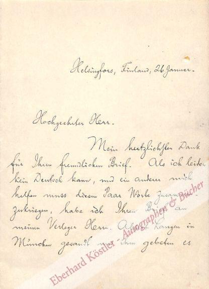 Hamsun, Knut (d. i. Knud Pedersen), Schriftsteller und Nobelpreisträger (1859-1952).