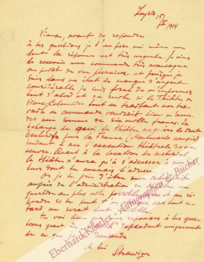 Strawinsky (Stravinsky), Igor, Komponist (1882-1971).