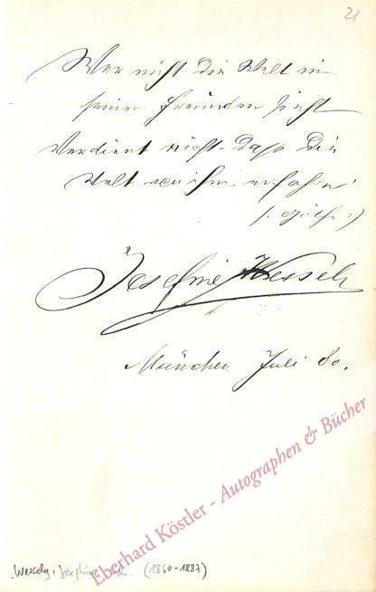 Wessely, Josephine, Schauspielerin (1860-1887).