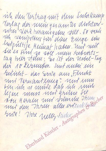 Sachs, Nelly, Schriftstellerin und Nobelpreisträgerin (1891-1970).
